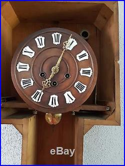0086-Antique German Junghans Westminster chime wall clock thermometer barometh