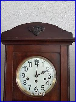 0116 Antique German Junghans Westminster chime wall clock Porcelain dial