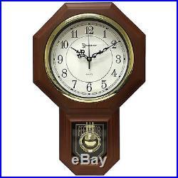 17.5 x 11.25 Essex Westminster Chime Faux Wood Pendulum Wall Clock Walnut