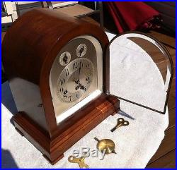 1910's Antique Junghans Large German Mantel Clock Working Westminster Chimes