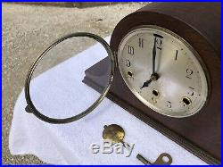 1910s Antique German Mantel Clock Working Correctly Westminster Chimes In Oak