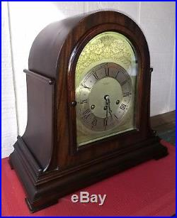 1924 Tiffany & Co. Herschede Mahogany Mantel Clock 1/4 Hour Westminster Chime