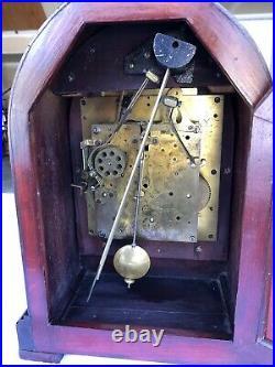 1926 Antique German Gustav Becker Mantel Clock Working Walnut Westminster Chimes