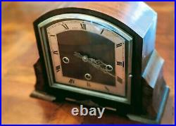 1930s ART DECO ENGLISH BAKER WIGAR MANTLE WESTMINSTER CLOCK CHIMES AND STRIKES