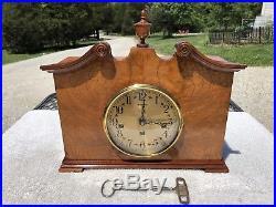 1940s Antique Herschede Mantel Shelf Clock Working Westminster Chimes