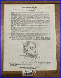 1979 Howard Miller Westminster CHIME 612-536 Regulator Clock 341-020 Mechanism