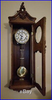 44 Vintage Oak Wall Clock Westminster Movement Pendulum with 8 Chimes