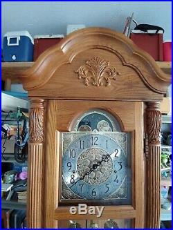 7' Golden Oak Howard Miller Floor Clock Model 611-080 Very Good Condition