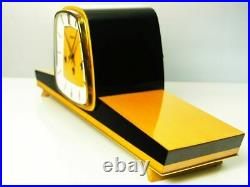 A Dream In Black Later Art Deco Westminster Chiming Mantel Clock Hermle