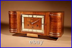 A Vedette Very Stylish Art Deco Westminster Carillon Walnut Mantel Clock French