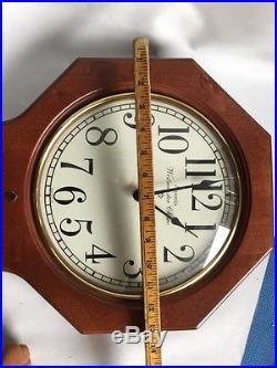 ANSONIA WESTMINSTER CHIME REGULATOR OCTAGONAL WALL CLOCK Wood Glass Quartz