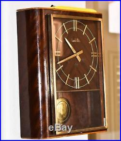 ANTIQUE FRENCH VEDETTE TWO TONE WOOD WALL CLOCK WESTMINSTER CHIMES WithVIDEO