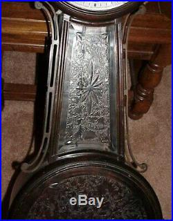 All Original Antique 1924 Ansonia Banjo #3 Westminster Chime Hanging Wall Clock