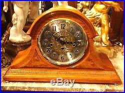 Amelia I Westminster Chiming key wound Tambour oak mantle shelf clock by Hermle