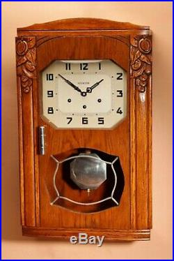 An Art Deco Westminster Vedette Carillon Oak Wall Clock French circa 1935