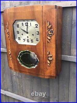 An Art Deco Westminster Veritable Carillon Oak Wall Clock French circa 1935