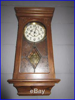 Ansonia Oak Westminster Chime Pendulum Wall Clock One Owner All Paperwork