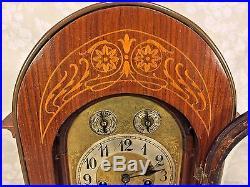 Ant Junghans Rosewood Bracket Clock Inlaid Veneer Wood Westminster Chimes Runs
