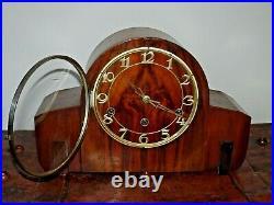 Antique 1920's/1930's Art Deco Oak Mantel Clock Westminster Chime Key Pendulum