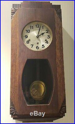 Antique 1920's JUNGHANS Westminster Chime Oak Deco Regulator Wall Clock Germany