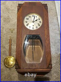 Antique 1920's JUNGHANS Westminster Chime Oak Deco Regulator Wall Clock Germany