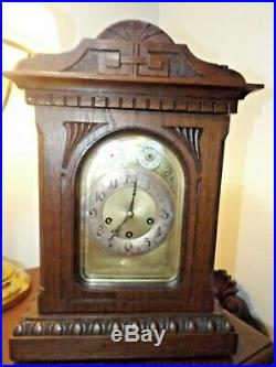 Antique 1920s Junghans Westminster Rod Chime Oak Mantle Clock AS IS PROJECT