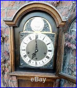 Antique 8 Day Westminster Chime Arched Dial Oak Long Case Grandmother Clock