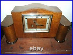 Antique Art Deco Smiths Wooden Wind Up Mantle Chime Clock Restored 1930's