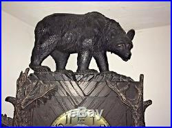Antique Black Forest Carved Bears Floor Clock Kloster Gong Westminster Chimes