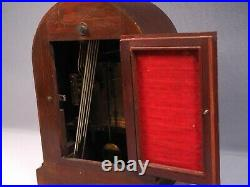 Antique CB Badische Uhrenfabrik Mahogany Westminster Chime Mantel Shelf WORKS