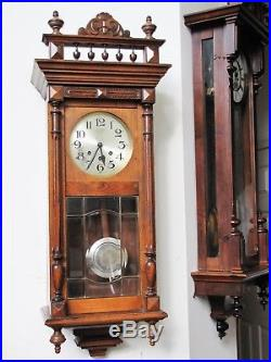 Antique French Wooden Wall Clock with Westminster Chime