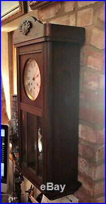 Antique German 8-Day Mahogany Case Wall Clock with Westminster Chimes