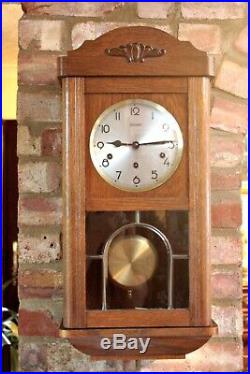 Antique German'Kieninger' 8-Day Oak Case Wall Clock with Westminster Chimes