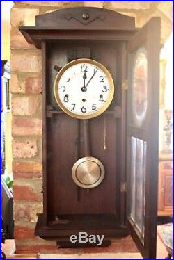 Antique German'Kienzle' 8-Day Mahogany Case Wall Clock with Westminster Chimes