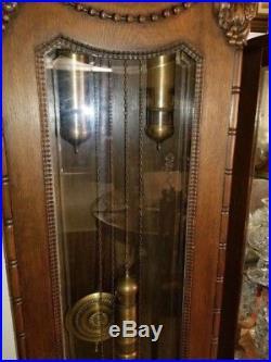 Antique German Oak Grandfather Clock Westminster Chimes Grande Sonnerie C 1880