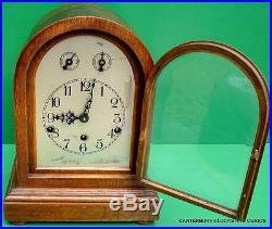 Antique German Oak Three Train 8 Day Westminster Chime Bracket Clock