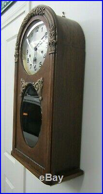 Antique German Prewar Junghans Westminster Chime Curved Top Wall Clock Very Rare