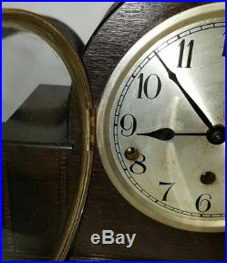 Antique Haller Mantel Clock German Double Chime Westminster Carved Wooden VTG