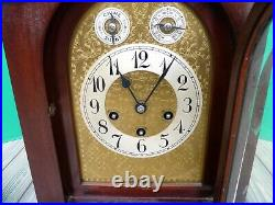 Antique Junghans 8 Day Westminster Chime Mahogany Mantel Bracket Clock AS IS
