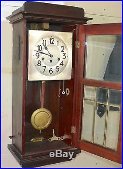 Antique Junghans Art Deco Brass Caming Bevel Glass Westminster Chime Wall Clock