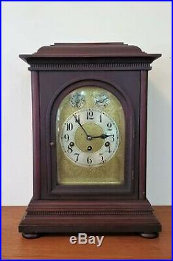 Antique Junghans Bracket Clock Westminster Chimes 8 Day Shelf Mantle Germany