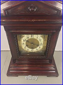 Antique Junghans Bracket Clock Westminster Chimes Runs Strikes Westminster Chime