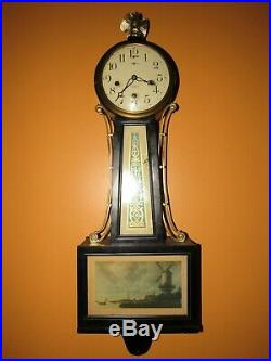 Antique New Haven Quarter Hour Westminster Chime Banjo Wall Clock, 8-day