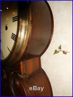 Antique New Haven Sheraton Mahogany Westminster Chime Clock