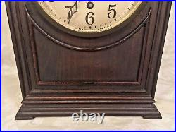 Antique New Haven Westminster Chime Clock Runs & Strikes Mahogany Steeple Clock