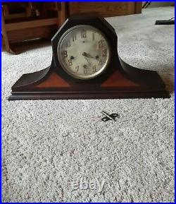 Antique New Haven Westminster Lincoln tambour mantle clock, chorded chime/silent