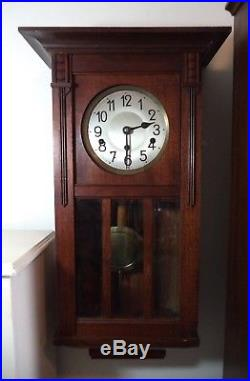 Antique Oak German Westminster Chime Wall Clock Working Early 1900's