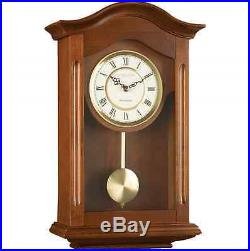 Antique Pendulum Wall Clock Dark Brown Wooden Walnut Vintage Westminster Chime