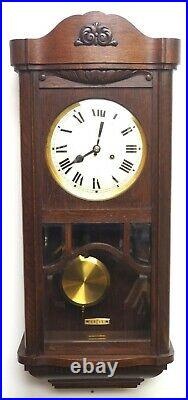 Antique Perfect Art Deco Musical Westminster Chime Wall Clock 8-Day Wood Oak HAC