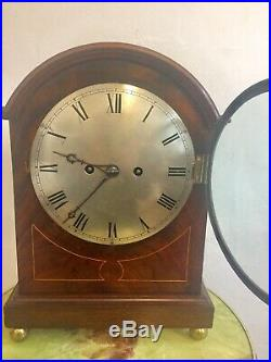 Antique Regency Twin Fusee Pull Repeater Westminster Chime Bracket Clock 5gongs